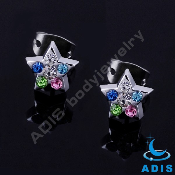 High polished stainless steel crescent shape multi gems ear stud for women