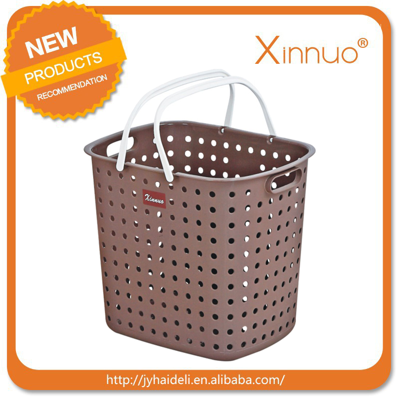 2016 Fashion plastic colored & oval laundry baskets with handles,factory supply