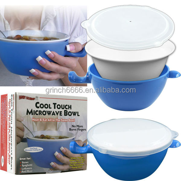 Ceramic cool touch microwave bowl 3 in 1