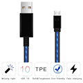 Visible Flowing Light LED Charging Cords 2.4a usb 2.0 data sync cable micro 5pin charging cable