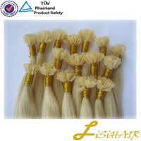 Top quality 100% russian remy human keratin double drawn mongolian stick tip hair extension