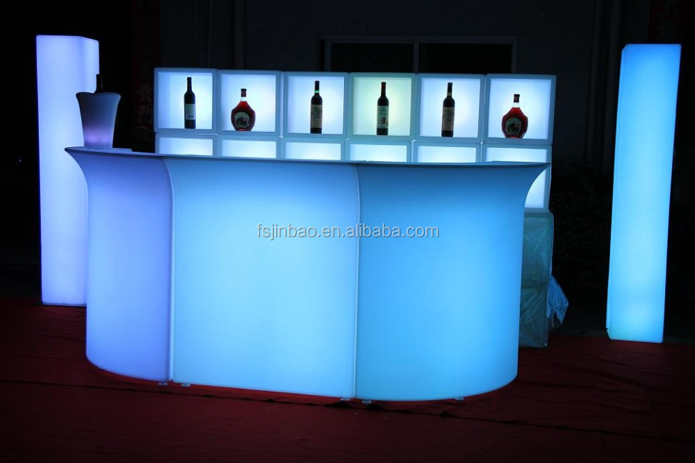 fashan LED lighti up bar table/remote control illuminated led furniture,led plastic led bar