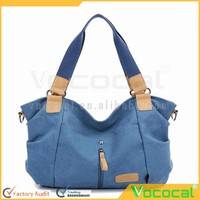 Women's Canvas Large Capacity Handbag Tote Crossbody Bag for iPad Folding Umbrella Cosmetics Blue