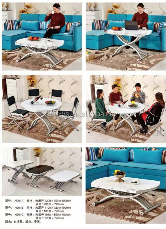 Multifunctional up down electric height adjustable dinning tables with folded round desktop