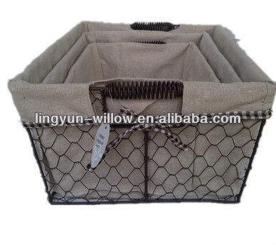 hot selling home design fabric bread metal baskets wholesale LYT022 S/3