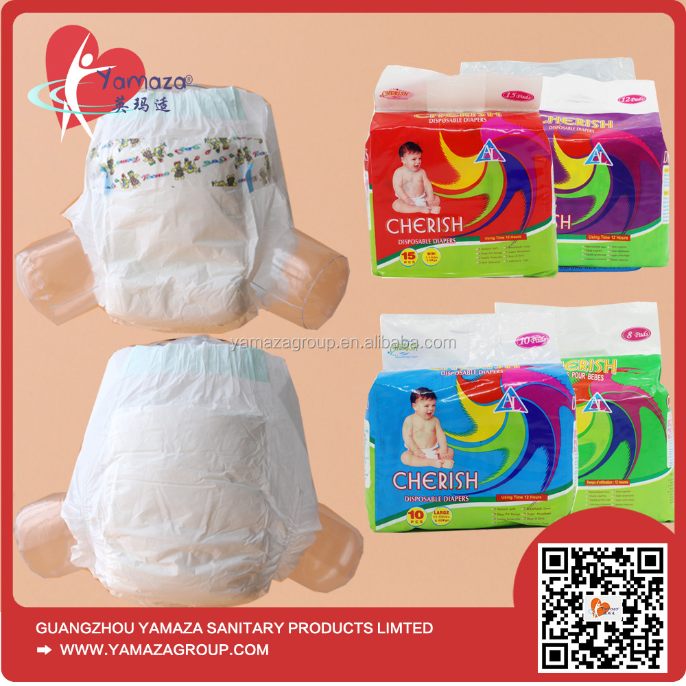 Breathable quality pampering baby disposable diapers made in china