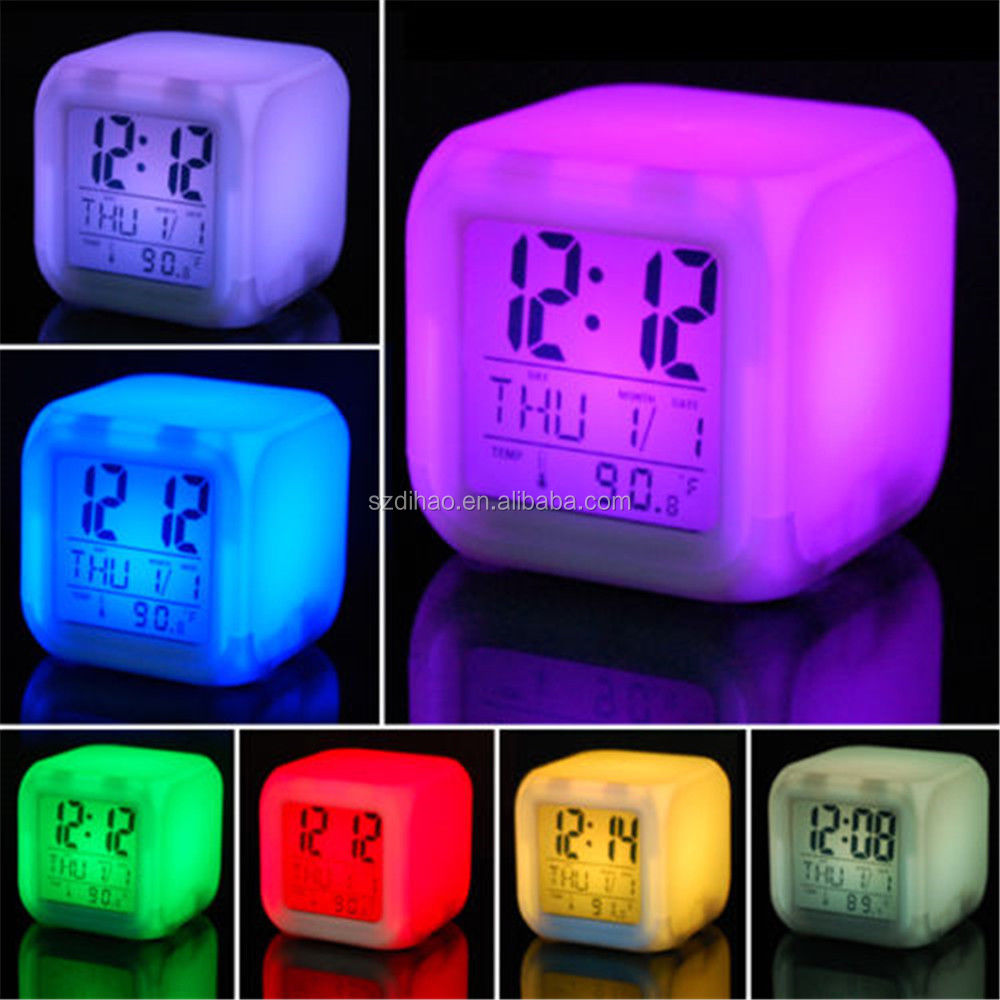 DIHAO New Hot 7 LED Colour Changing 7 color change led digital lcd alarm clock lcd alarm clock wake up light alarm clock