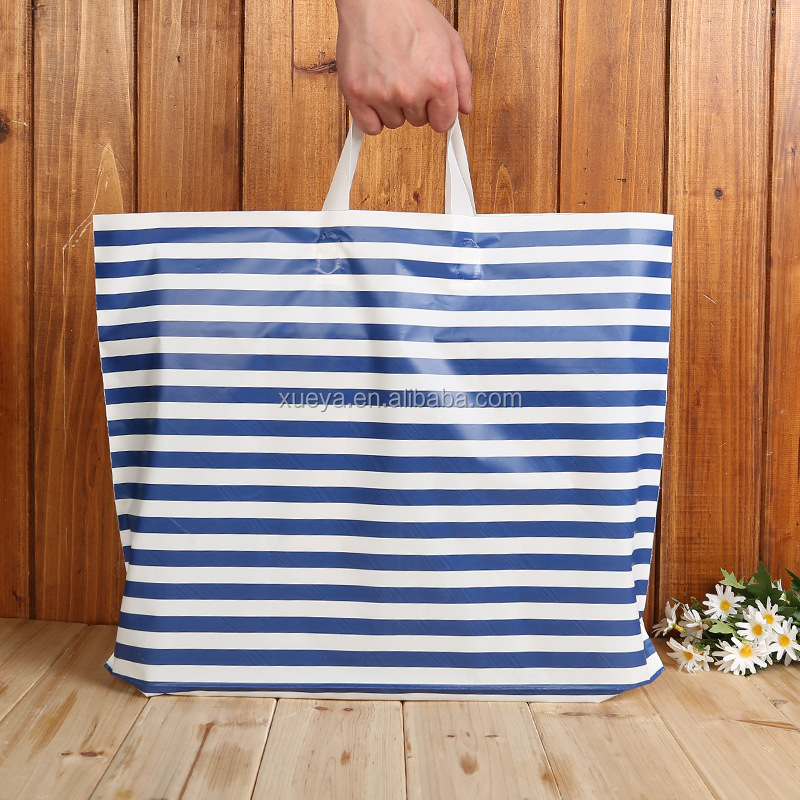 Wholesale latest fashion cute stripe plastic bag manufacturer for packing clothes