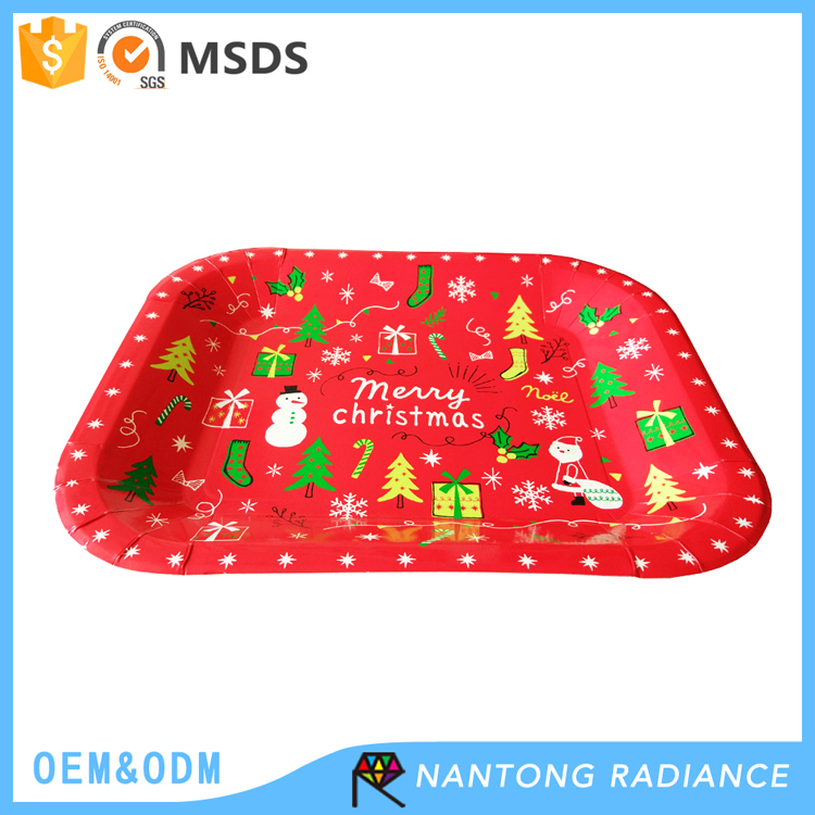 32*27cm Christmas Paper Plate for party
