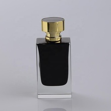 Custom Design Famous Brand Inside Black Painting 50ml 100ml Empty Spray Fancy Rectangle Square Black Glass Bottle Perfume