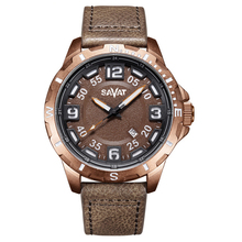 Manufacturer supplier durable army style genuine leather band quartz men watches