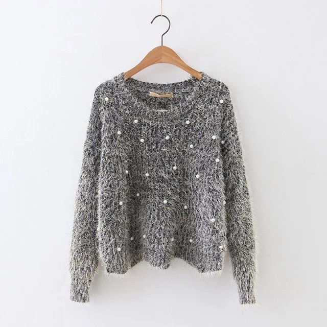 Christmas custom crocheted women knitted mohair casual loose fit hoody pullover sweater top with pearl beaded