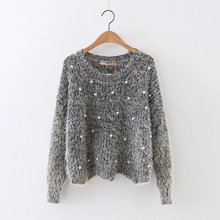 Christmas custom crocheted women knitted mohair casual loose fit hoody pullover lady sweater top with pearl beaded