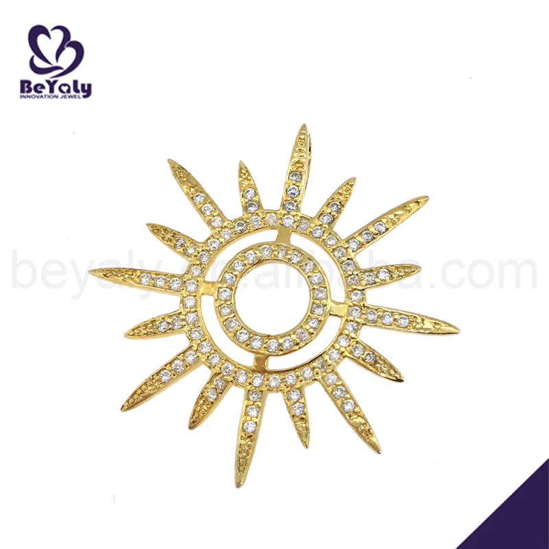 Nice silver sun shape cz 14 karat gold jewelry wholesale