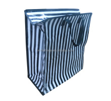 Laminated PP Woven Stripe Zipper Carry Bag For Shopping
