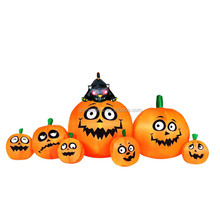 Inflatable seven funny face red eyes pumpkin and black cat halloween party set