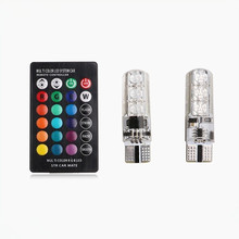 12V Canbus car led parking light T10 5050 6SMD RGB strobe reverse light for universal cars with remote