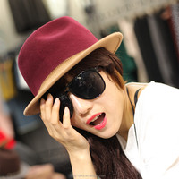Women Wool Felt Fedora Hats With