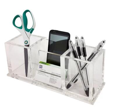 clear acrylic desk accessories organizer set with 3 compartments/dividers