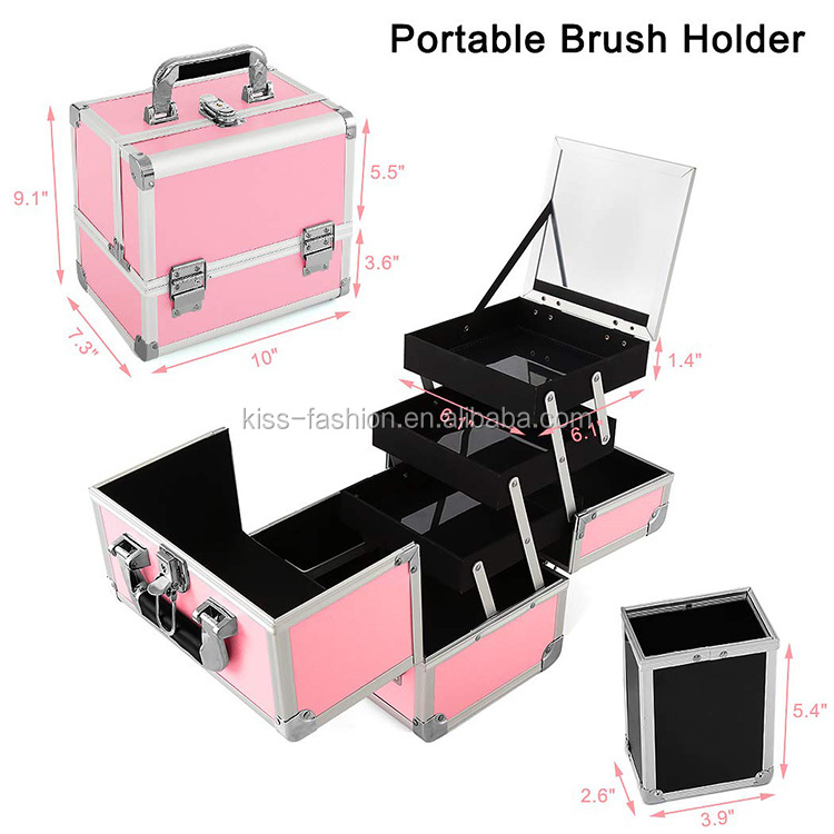 makeup make up make-up organizer beauty cosmetic case box storage container travel aluminum train carry vanity trolley abs bag