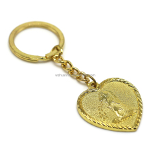 custom gold plating heart shaped photo metal car keychain