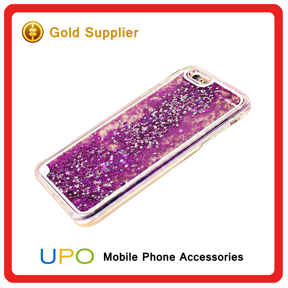 [UPO] Transparent Plastic Liquid Quicksand 3D Bling Bling Glitter Star Mobile Phone Back Case Cover for Apple iPhone 5/se/6
