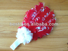infant fashion cheap fabric pearl center wholesale feather headbands