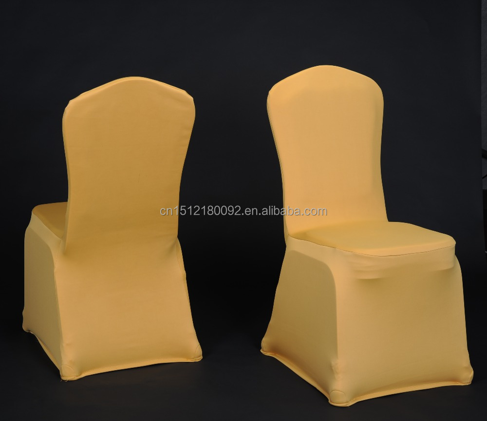 Factory- 300gsm YELLOW universal spandex stretch wrinkle free chair covers for banquet/hotel/wedding.