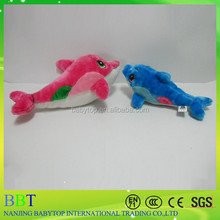 Wholesale pink and blue dolphin sea animal toys plush dolphin for baby