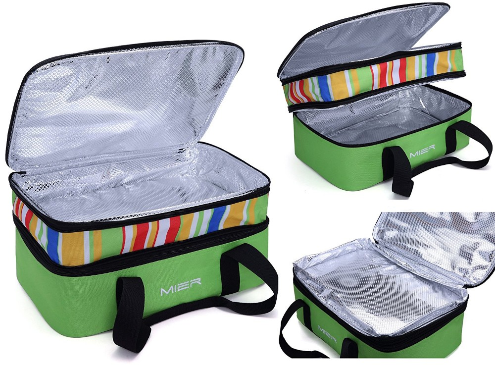 "Insulated Double Casserole Carrier Thermal Lunch Tote for Potluck Parties, Picnic, Beach Fits 9""x13"" Casserole Dish, Expandable"