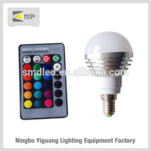 Color Changing 3W rgb LED Lamp Light Bulb with 24 keyboard remote controller