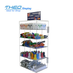Clear mobile Phone Accessories & Parts display counter top acrylic earphone 5 tier display stand
