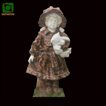 Girg Statue With Bear Marble Sculpture