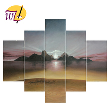 Wonderful Sunrise Scenery Oil Painting Canvas Group Painting