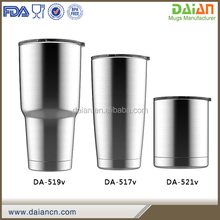Double wall vacuum insulated tumbler cup with straw and lids
