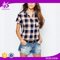 2016 Guangzhou Shandao New Fancy Style Summer Women Casual Short Sleeve Checked With pocket Cotton Korea Design Blouse