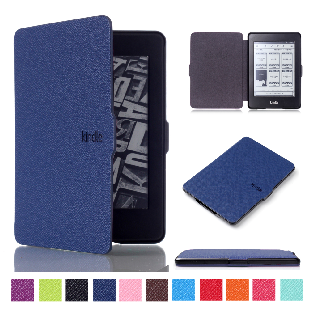 Auto sleep/wake function smart tablet Flip Book cover for kindle paperwhite 1 2 3 leather case