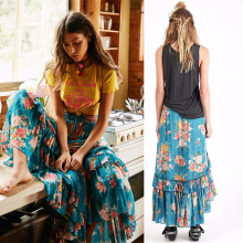 Fashion flower print women boho gypsy skirt and latest long maxi skirt design