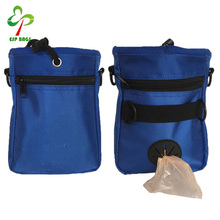 Adjustable drawstring waist dog food treat waste bag for training with pet poop bag dispenser and over shoulder strap belt