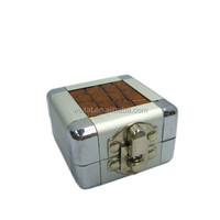 2015 The Cube Silvery Brown Aluminum Ring Box