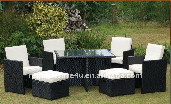 Sell rattan garden cube furniture set 9 pieces with KD backrest