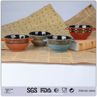 hand painted soup bowl with handle - 18026