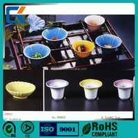 Korea design colorful glazed durable sauce dish with flower shaped