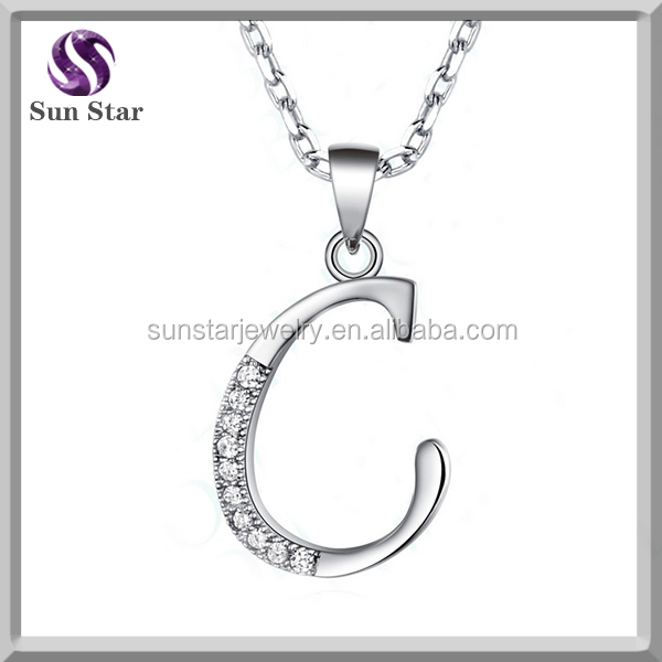 2016 hotsale fashion CZ initial letter C pendant with Rhodium and gold color