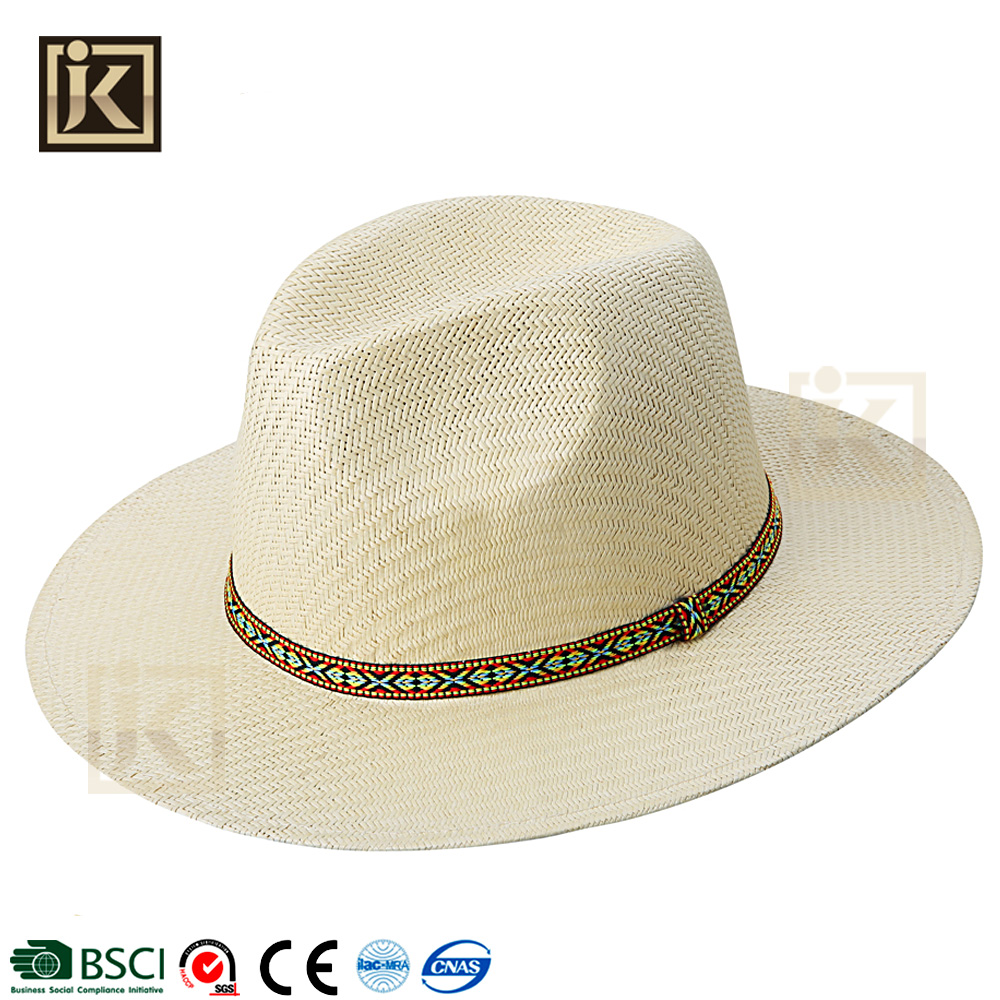 JIKIJIAYI cool bowler outdoor handmade top grade adult custom high quality stylish summer light color latest straw hat panama