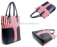 Posh design stripe pu wrapped lady canvas tote bag with top quality