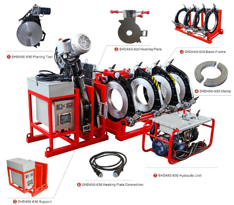 WUXI SHENGDA SHD450 HDPE butt fusion welding machine for PE pipes from 200mm to 450mm
