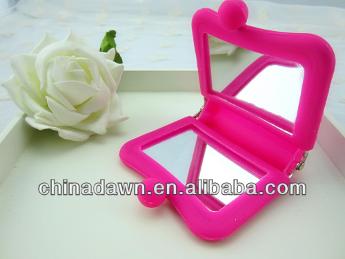 New design soft promotional compact silicone mirror CD-MSS02