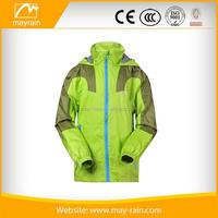 green light weight waterproof men rain jacket with lining with zipper