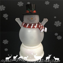 Colorful Led Light Flickering Decorative Small Snowman Christmas Figurine